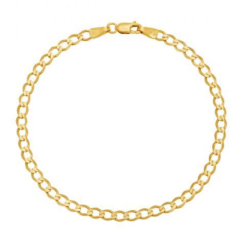 "9ct Yellow Gold Classic Italian Curb Bracelet - 3.5mm - 7"" - Ladies"
