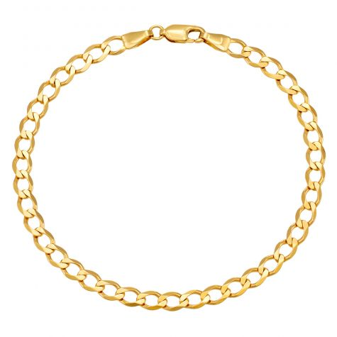 "9ct Yellow Gold Classic Italian Curb Bracelet - 4.5mm - 8"" - Gents"