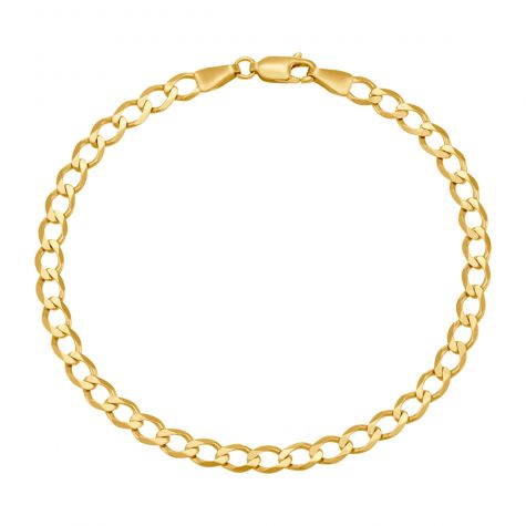 """9ct Yellow Gold Classic Curb Bracelet - 4.5mm - 6"""" - Babies"""