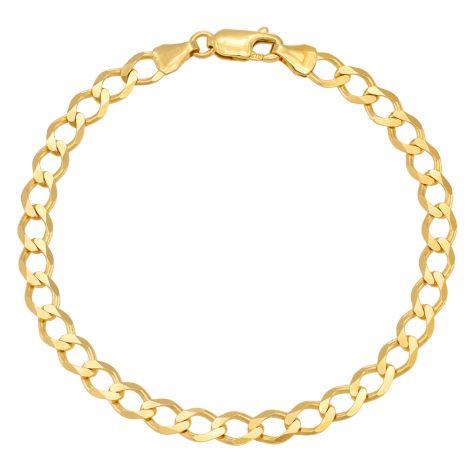 "9ct Yellow Gold Classic Italian Curb Bracelet - 5.5mm -7"" -Ladies"