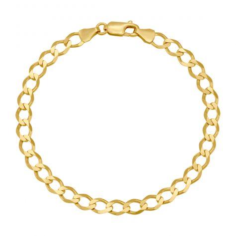 "9ct Yellow Gold Classic Italian Curb Bracelet - 5.5mm - 6"" - Babies"