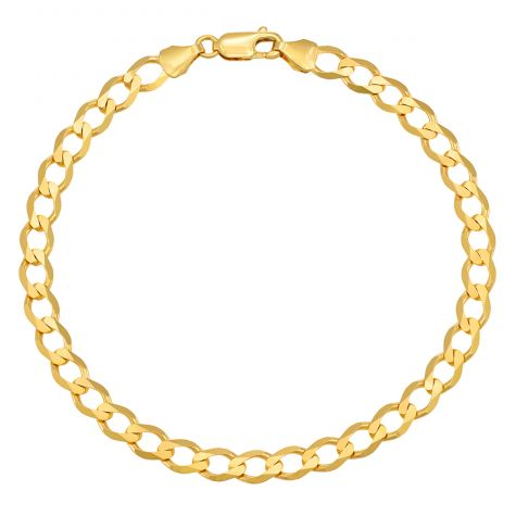 "9ct Yellow Gold Classic Italian Curb Bracelet - 6mm - 7"" - Ladies"