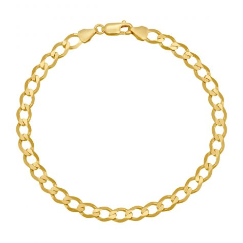 "9ct Yellow Gold Classic Italian Curb Bracelet - 6mm - 7"" - Ladies"