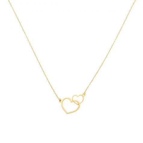 """9ct Yellow Gold Two Hearts Necklace - 17"""" - 18"""" Adjustable"""