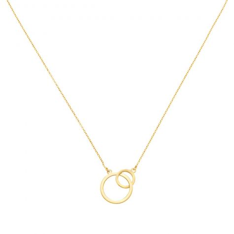 """9ct Yellow Gold Two Rings Necklace  - 17"""" - 18"""" Adjustable"""