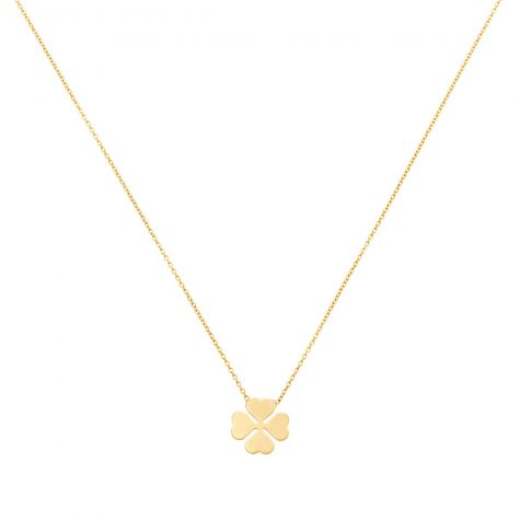 """9ct Yellow Gold Four Leaf Clover Necklace - 16"""" - 18"""" Adjustable"""