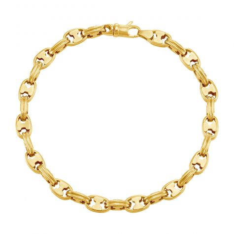 """9ct Yellow Gold Ribbed Oval Link Bracelet - 6mm - 8"""" - Gents"""