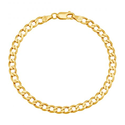 "9ct Gold Semi Solid Italian Curb Bracelet - 5mm - 7"" - Ladies"