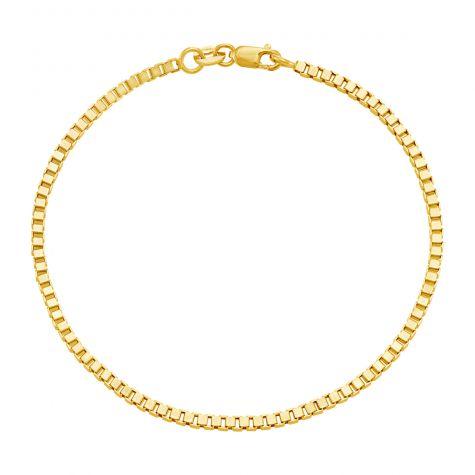 "9ct Yellow Gold Box Link Design Bracelet -2mm - 7"" - Ladies"