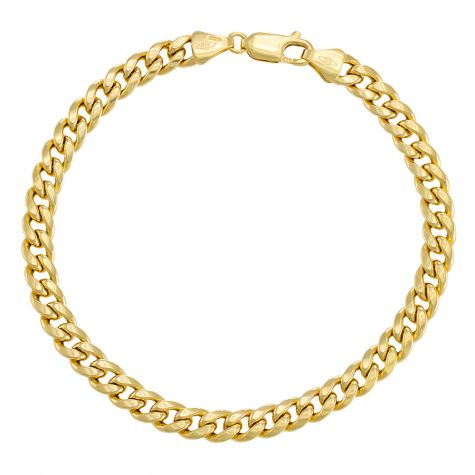 """9ct Yellow Gold Domed Curb bracelet - 5.5mm - 7"""" - Ladies"""