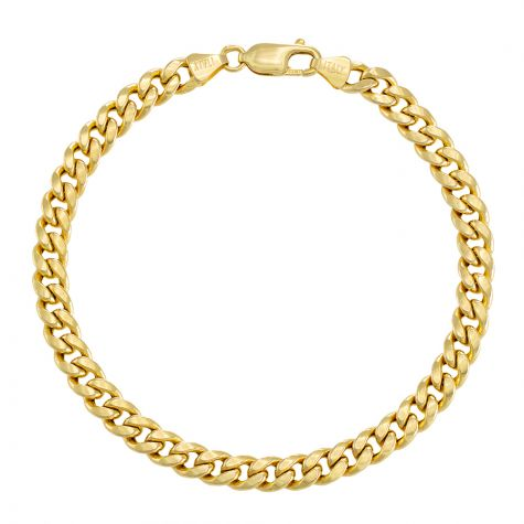 "9ct Yellow Gold Domed Italian Curb Bracelet - 6mm - 7"" - Ladies"