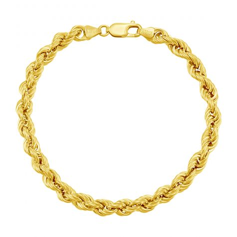 "9ct Yellow Gold Italian Rope Bracelet - 6.3mm - 7"" - Ladies"