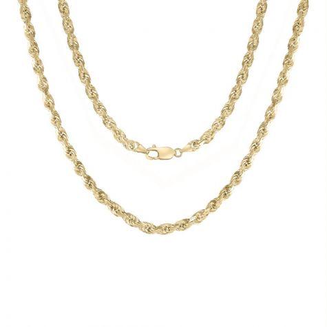 "9ct Yellow Gold Semi Solid Diamond Cut Rope Chain-6mm - 22""- 34"""