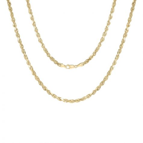 """9ct Yellow Solid Gold Diamond Cut Rope Chain - 4.2mm - 22"""" - 34"""""""