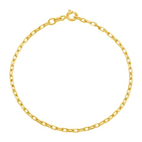 "9ct Yellow Gold Diamond Cut Belcher Bracelet - 2mm  - 7"" - Ladies"