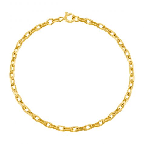"9ct Yellow Gold Diamond-Cut Belcher Bracelet - 2.8mm - 7"" -Ladies"