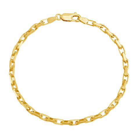 "9ct Yellow Gold Diamond-cut Belcher Bracelet - 3.3mm - 7"" -Ladies"