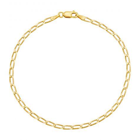 "9ct Yellow Gold Italian Rada Curb Bracelet - 2.5mm - 7"" - Ladies"