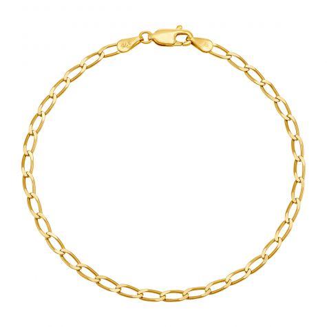 "9ct Yellow Gold Italian Rada Curb Bracelet - 3mm - 7"" - Ladies"