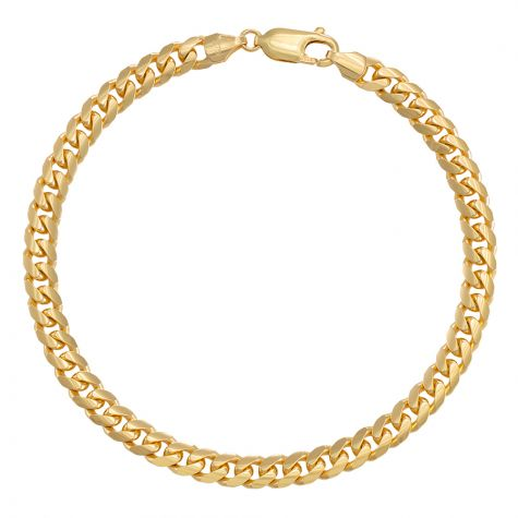 """9ct Yellow Gold Domed Italian Curb Bracelet - 5.5mm - 8"""" - Gents"""