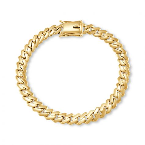 """9ct Solid Yellow Gold Miami Cuban Link Bracelet -8.5mm -9""""- Gents"""