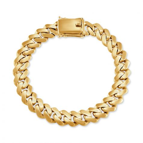 """9ct Yellow Gold Solid Miami Cuban Bracelet - 11 mm - 9"""" - Gents"""