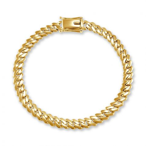 """9ct Yellow Gold Solid Miami Cuban Link Bracelet - 6mm- 8"""" - Gents"""