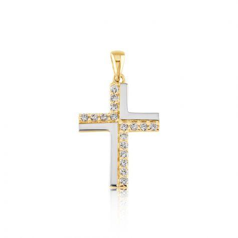 9ct Yellow Gold Solid CZ Gem-set Small Cross Pendant - 14mm