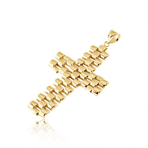 9ct Yellow Gold Solid Fancy Rolex Style Link Large Cross - 28mm