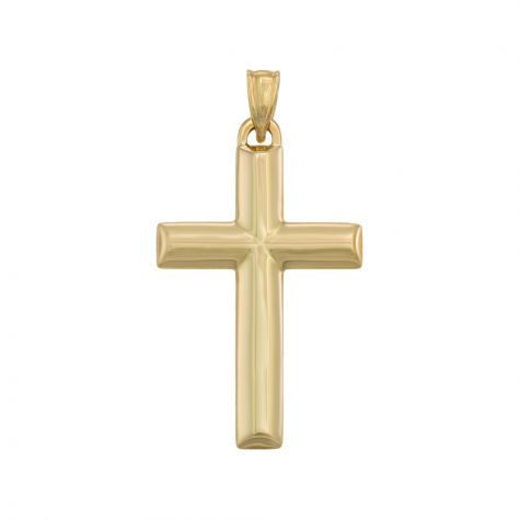 9ct Yellow Gold Hollow Oval Tubed Cross Pendant - 41mm