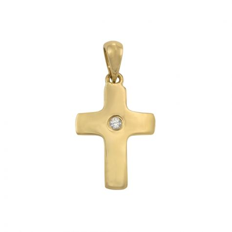 9ct Yellow Gold Small Flat Polished Gem-set Cross Pendant - 24mm