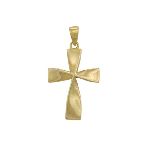 9ct Yellow Gold Polished Twisted Cross Pendant - 27mm