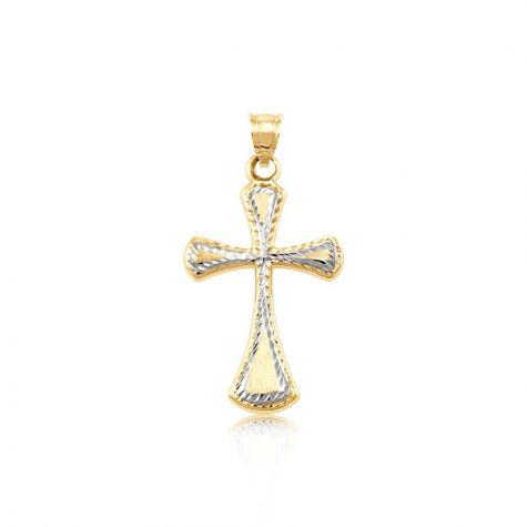 9ct Yellow & White Gold Diamond-cut Hollow Cross Pendant - 32mm