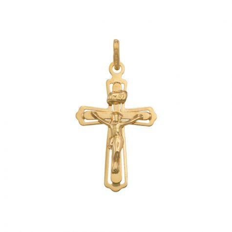 9ct Yellow Gold Cut-out Crucifix Cross Pendant - 35mm