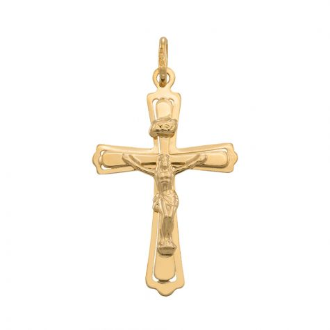 9ct Yellow Gold Flat Cut Out Crucifix Cross Pendant - 43mm