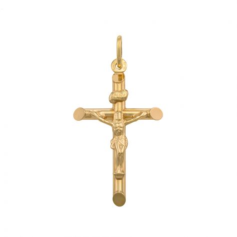 9ct Yellow Gold Medium Round Tubed Crucifix Cross Pendant - 41mm
