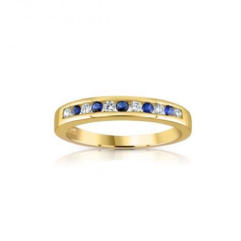 9ct Yellow Gold 0.12ct Diamond & 0.16ct Blue Sapphire Eternity Ring