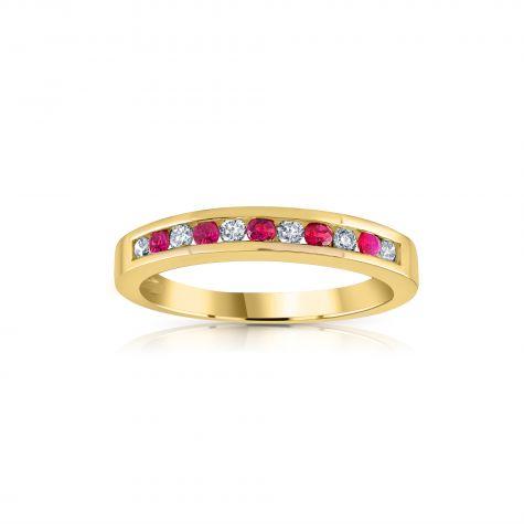 9ct Yellow Gold 0.12ct Diamond & 0.16ct Ruby Eternity Ring