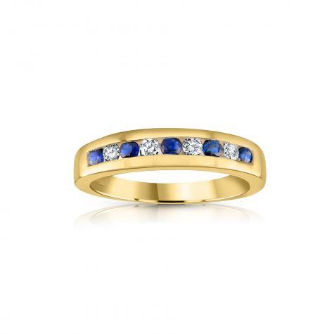 9ct Yellow Gold 0.14ct Diamond & 0.31ct Blue Sapphire Eternity Ring