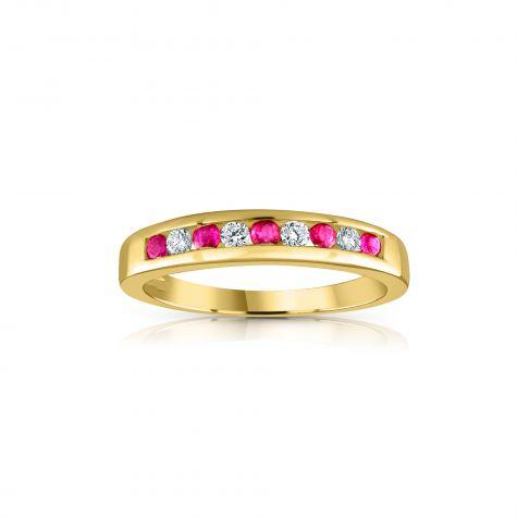 9ct Yellow Gold 0.14ct Diamond & 0.31ct Ruby Eternity Ring