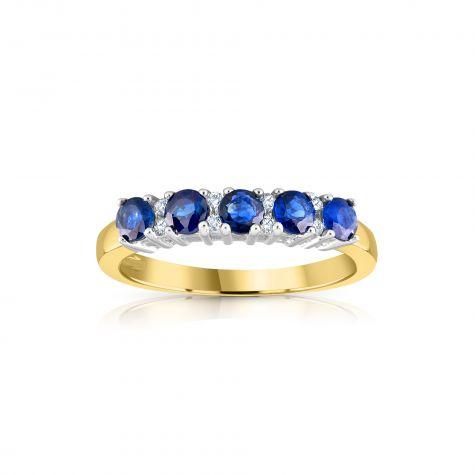 9ct Yellow Gold 0.06ct Diamond & 0.50ct Blue Sapphire Eternity Ring