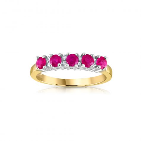 9ct Yellow Gold 0.15ct Diamond & 0.70ct Ruby Eternity Ring