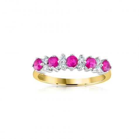 9ct Yellow Gold 0.12ct Diamond & 0.65ct Ruby Eternity Ring