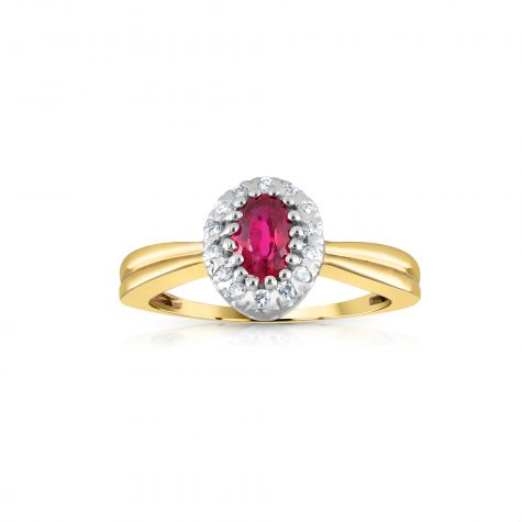 9ct Yellow Gold 0.10ct Diamond & 0.50ct Ruby Cluster Ring