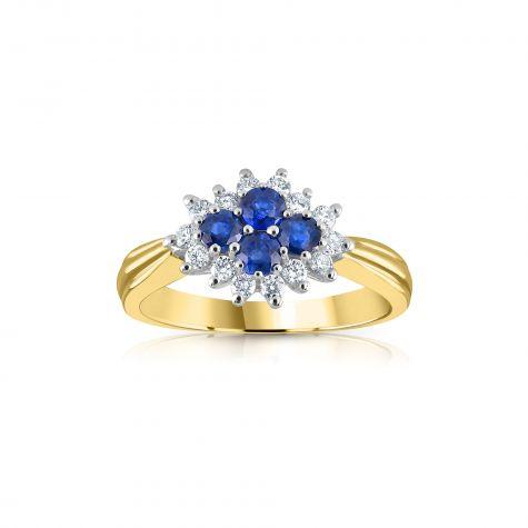 9ct Yellow Gold 0.21ct Diamond & 0.45ct Sapphire Cluster Ring