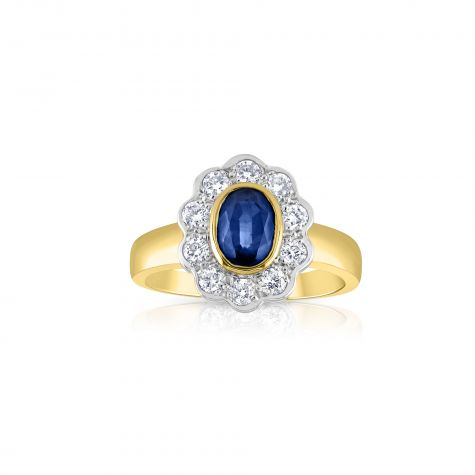 18ct Yellow Gold 0.40ct Diamond & 0.90ct Blue Sapphire Cluster Ring