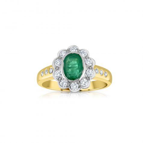 18ct Yellow Gold 0.30ct Diamond & 0.75ct Emerald Cluster Ring