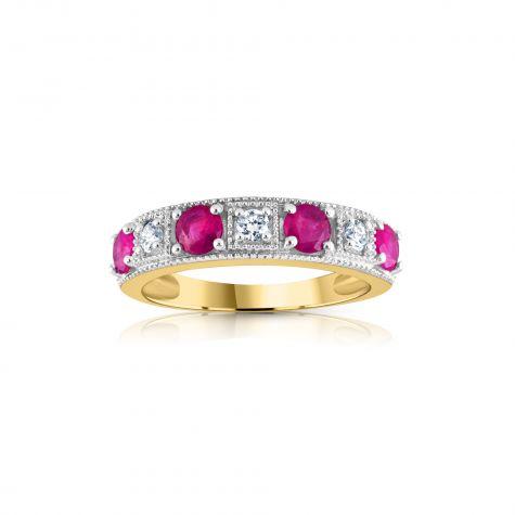 18ct Yellow Gold 0.15ct Diamond & 0.80ct Ruby Eternity Ring