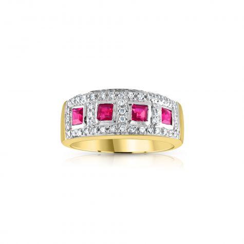 9ct Yellow Gold 0.22ct Diamond & 0.50ct Ruby Eternity Ring