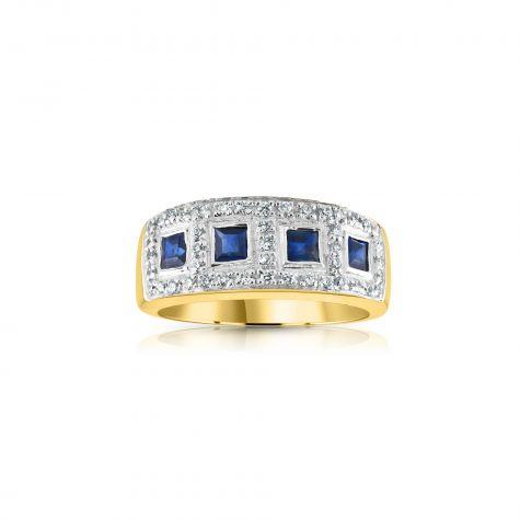 9ct Yellow Gold 0.22ct Diamond & 1.16ct Blue Sapphire Eternity Ring